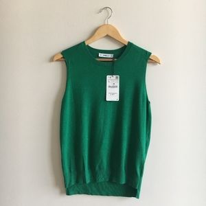 NWT Zara Green Knit Vest Sweater Size Large